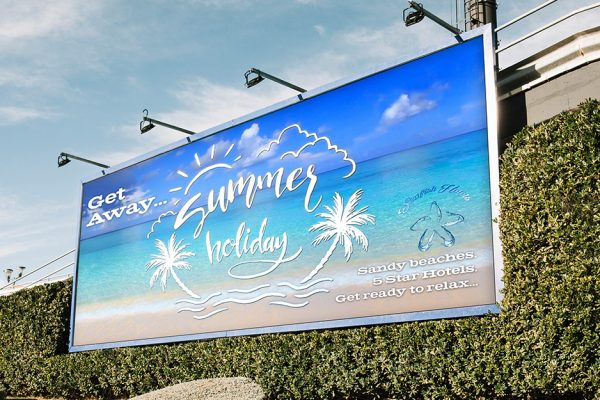 billboard printing summer holiday closeup